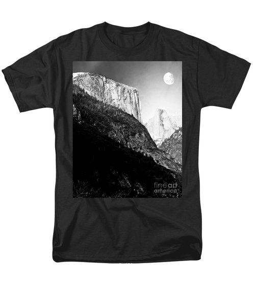 Moon Over Half Dome . Black and White T-Shirt by Wingsdomain Art and Photography