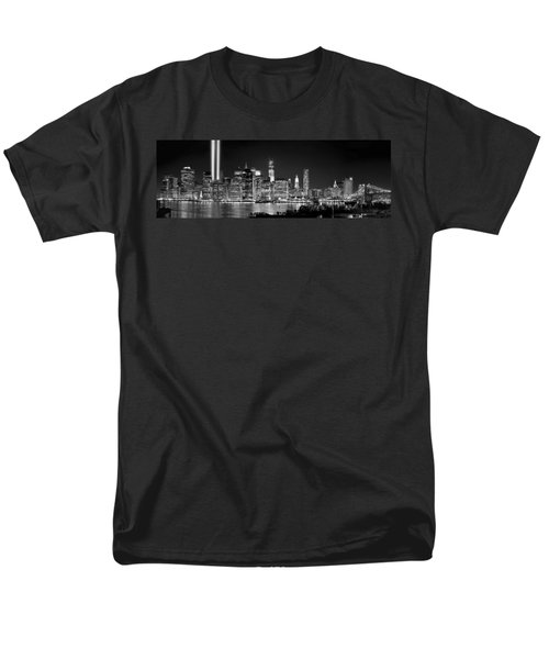 New York City Bw Tribute In Lights And Lower Manhattan At Night Black And White Nyc Men's T-Shirt  (Regular Fit) by Jon Holiday
