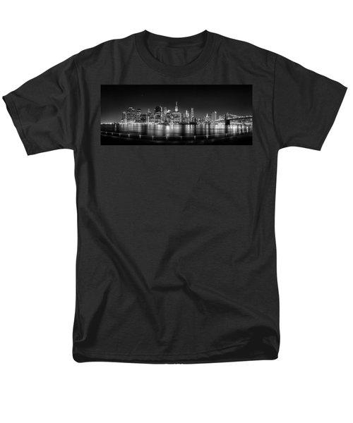 New York City Skyline Panorama At Night Bw Men's T-Shirt  (Regular Fit) by Az Jackson