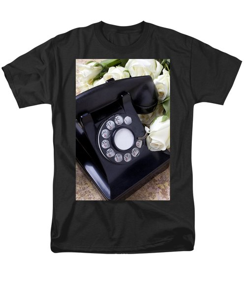 Old phone and white roses T-Shirt by Garry Gay
