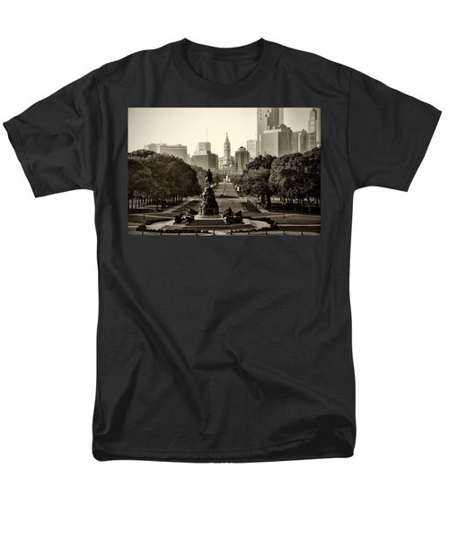Philadelphia Benjamin Franklin Parkway in Sepia T-Shirt by Bill Cannon