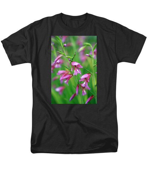 Pink flowers of Gladiolus Communis T-Shirt by Frank Tschakert