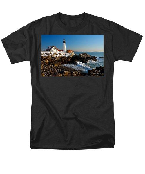 Portland Head Light - lighthouse seascape landscape rocky coast Maine T-Shirt by Jon Holiday