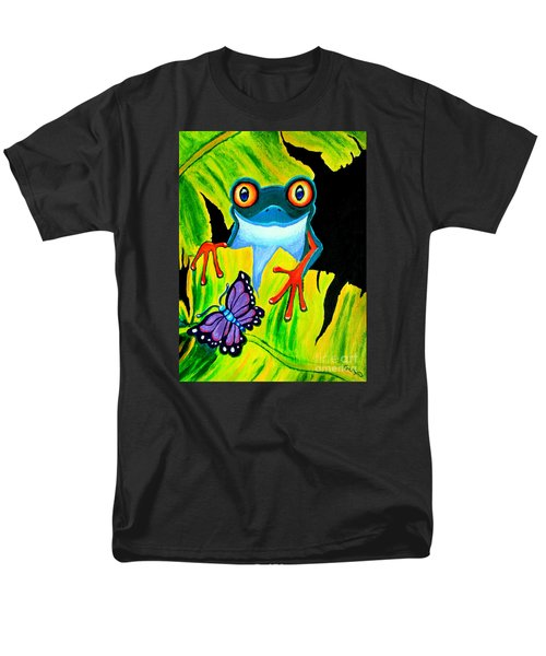 Red Eyed Tree Frog and Purple Butterfly T-Shirt by Nick Gustafson