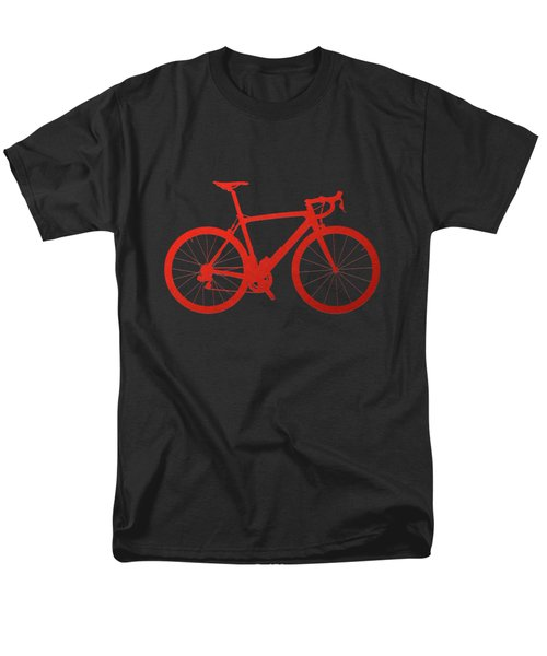 Road Bike Silhouette - Red On Black Canvas Men's T-Shirt  (Regular Fit) by Serge Averbukh