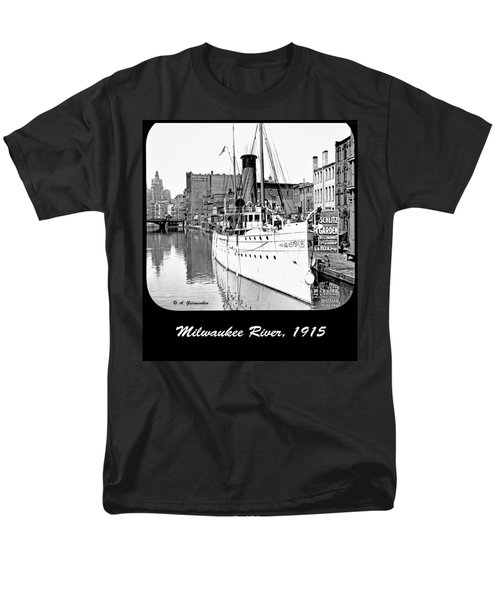 Men's T-Shirt  (Regular Fit) featuring the photograph Ship In Milwaukee River C 1915 by A Gurmankin