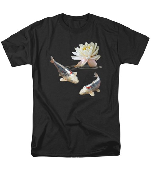 Silver And Red Koi With Water Lily Vertical Men's T-Shirt  (Regular Fit) by Gill Billington