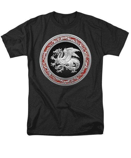 Silver Icelandic Dragon  Men's T-Shirt  (Regular Fit) by Serge Averbukh