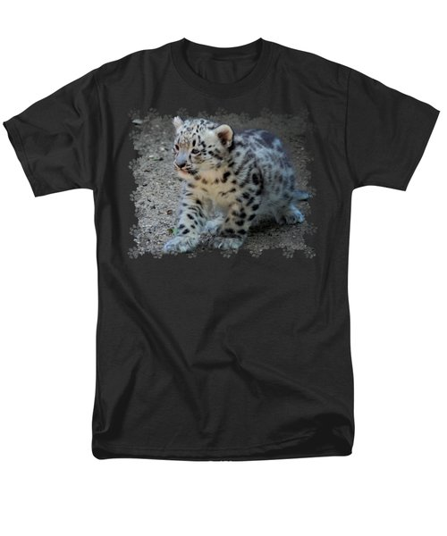 Snow Leopard Cub Paws Border Men's T-Shirt  (Regular Fit) by Terry DeLuco