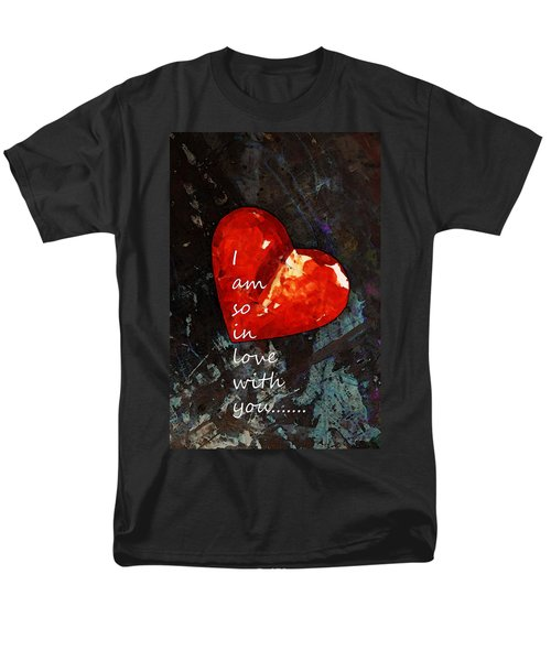 So In Love With You - Romantic Red Heart Painting T-Shirt by Sharon Cummings