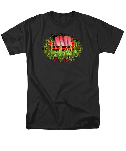 The Red Garden Bench Men's T-Shirt  (Regular Fit) by Thom Zehrfeld