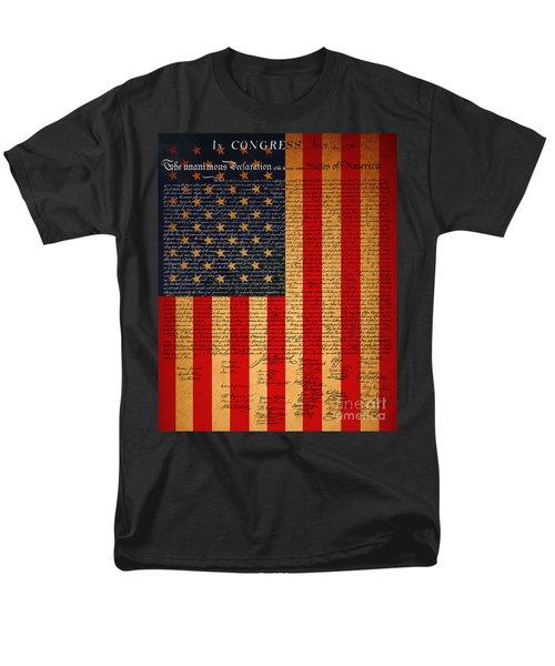 The United States Declaration of Independence And The American Flag 20130215 T-Shirt by Wingsdomain Art and Photography