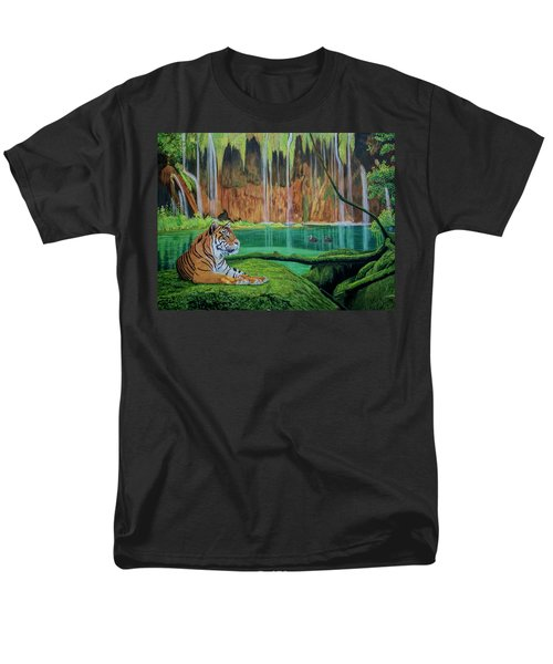 Tiger At The Waterfall  Men's T-Shirt  (Regular Fit) by Manuel Lopez
