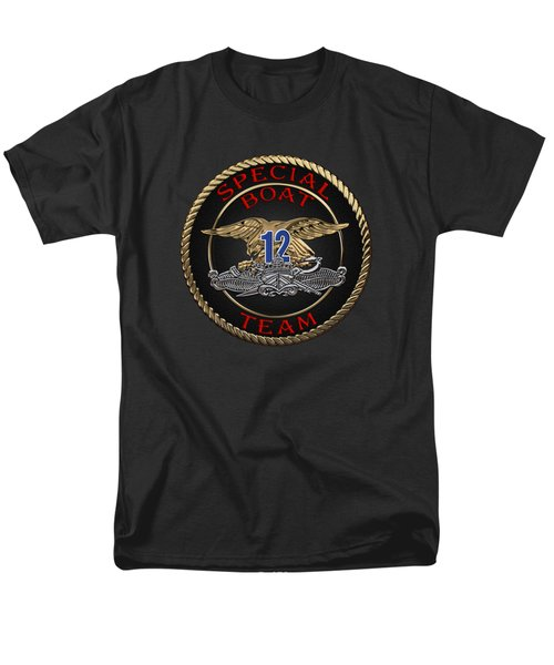 U. S. Navy S W C C - Special Boat Team 12   -  S B T 12  Patch Over Black Velvet Men's T-Shirt  (Regular Fit) by Serge Averbukh