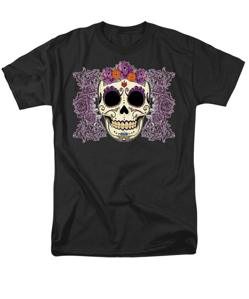 Vintage Sugar Skull and Roses T-Shirt by Tammy Wetzel