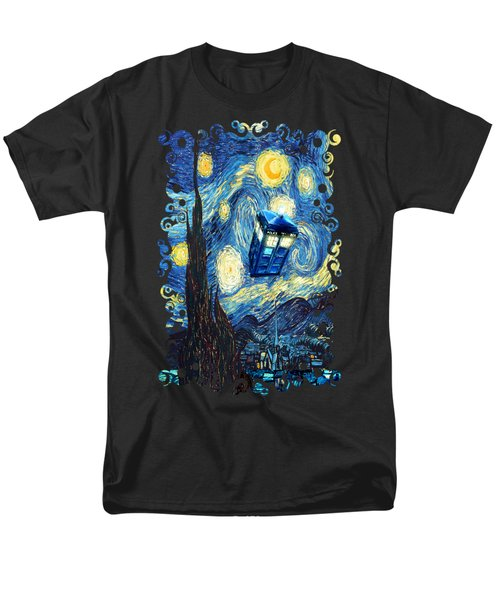 Weird Flying Phone Booth Starry The Night Men's T-Shirt  (Regular Fit) by Three Second