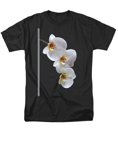 White Orchids On Black Vertical Men's T-Shirt  (Regular Fit) by Gill Billington
