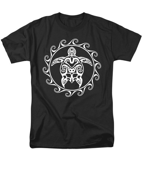 White Tribal Turtle Men's T-Shirt  (Regular Fit) by Chris MacDonald