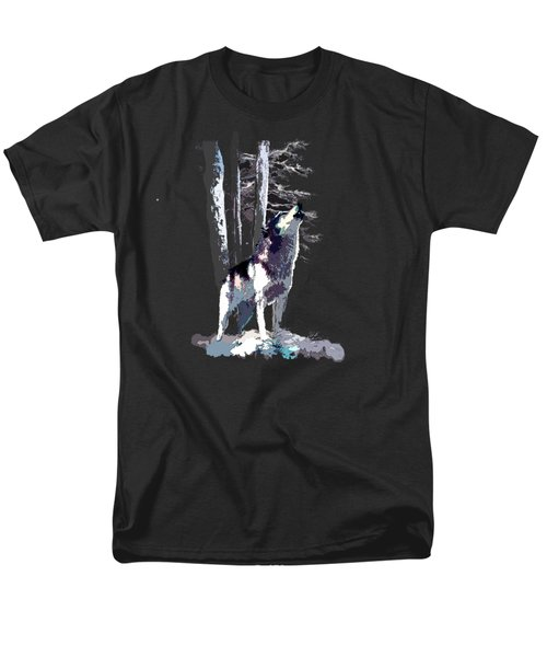 Wolf  Howling Memory Men's T-Shirt  (Regular Fit) by Regina Femrite