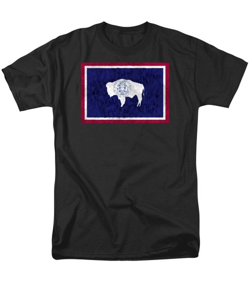 Wyoming Map Art With Flag Design Men's T-Shirt  (Regular Fit) by World Art Prints And Designs