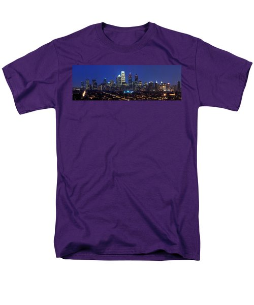 Buildings Lit Up At Night In A City Men's T-Shirt  (Regular Fit) by Panoramic Images