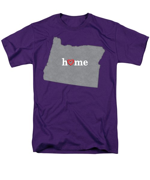 State Map Outline Oregon With Heart In Home Men's T-Shirt  (Regular Fit) by Elaine Plesser