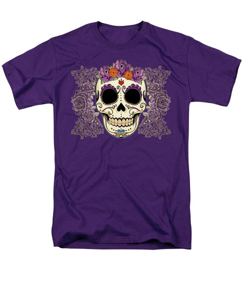 Vintage Sugar Skull And Roses Men's T-Shirt  (Regular Fit) by Tammy Wetzel