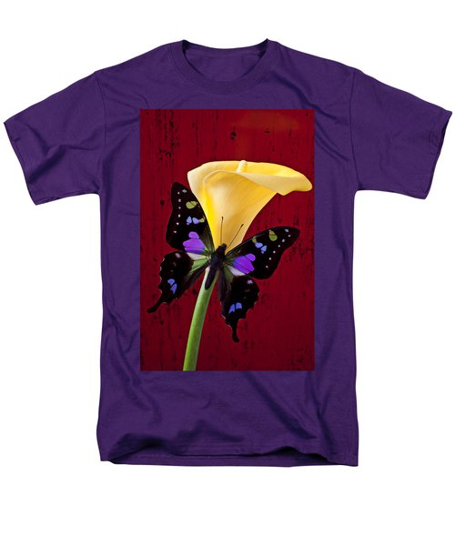 Calla lily and purple black butterfly T-Shirt by Garry Gay