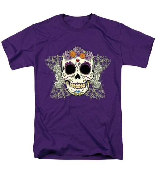 Vintage Sugar Skull And Flowers Men's T-Shirt  (Regular Fit) by Tammy Wetzel