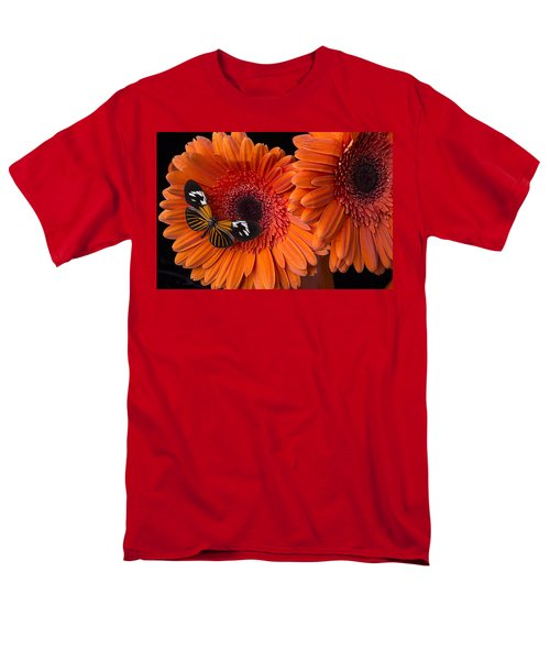Butterfly on orange mums T-Shirt by Garry Gay