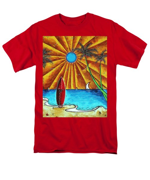 Original Tropical Surfing Whimsical Fun Painting WAITING FOR THE SURF by MADART T-Shirt by Megan Duncanson