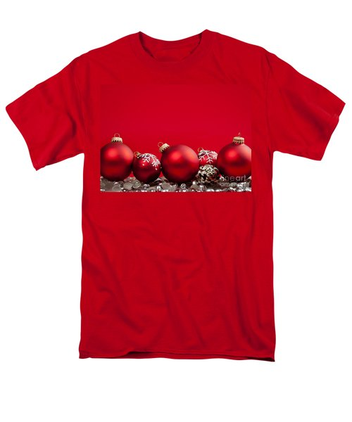 Red Christmas baubles and decorations T-Shirt by Elena Elisseeva