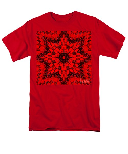 Red Patchwork Art T-Shirt by Barbara Griffin