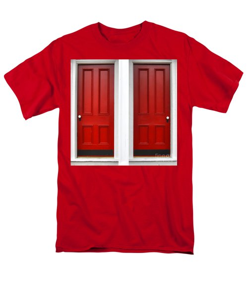 Twin Red Doors T-Shirt by Olivier Le Queinec