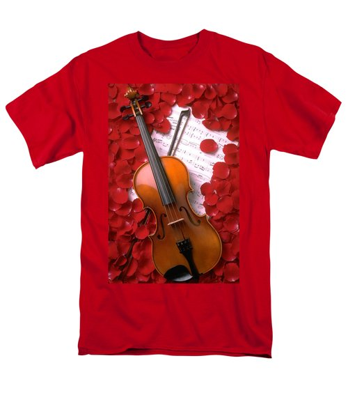 Violin on sheet music with rose petals T-Shirt by Garry Gay