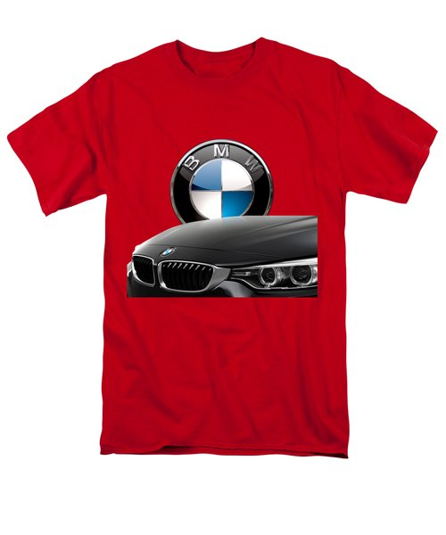 Black B M W - Front Grill Ornament And 3 D Badge On Red Men's T-Shirt  (Regular Fit) by Serge Averbukh