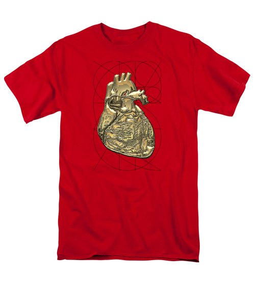Heart Of Gold - Golden Human Heart On Red Canvas Men's T-Shirt  (Regular Fit) by Serge Averbukh