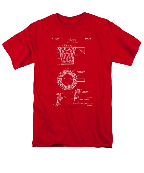 1951 Basketball Net Patent Artwork - Red Men's T-Shirt  (Regular Fit) by Nikki Marie Smith