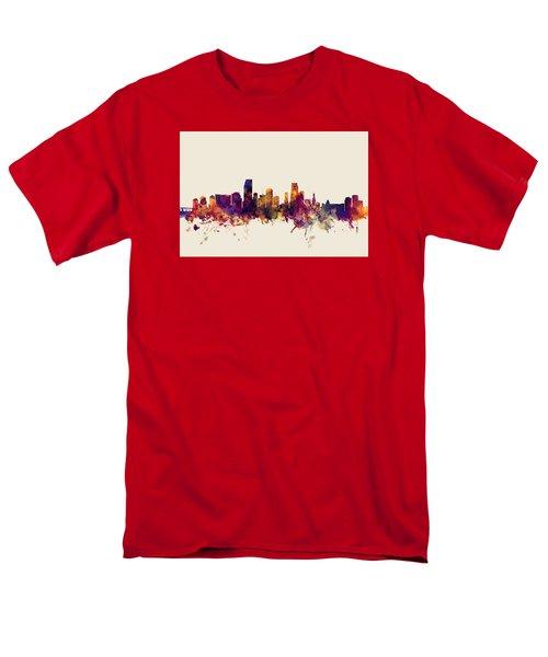 Miami Florida Skyline Men's T-Shirt  (Regular Fit) by Michael Tompsett