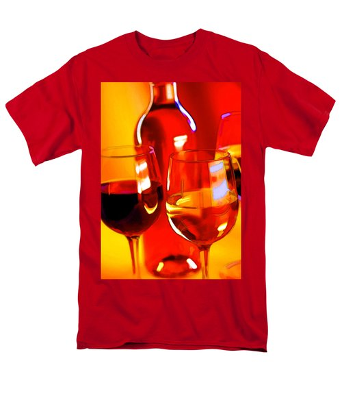 Abstract Bottle of Wine and Glasses of Red and White T-Shirt by Elaine Plesser