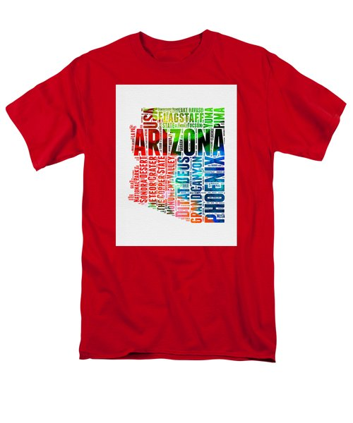 Arizona Watercolor Word Cloud Map  Men's T-Shirt  (Regular Fit) by Naxart Studio