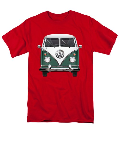 Volkswagen Type 2 - Green And White Volkswagen T 1 Samba Bus Over Red Canvas  Men's T-Shirt  (Regular Fit) by Serge Averbukh
