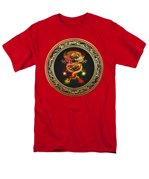 Brotherhood Of The Snake - The Red And The Yellow Dragons On Red Velvet Men's T-Shirt  (Regular Fit) by Serge Averbukh