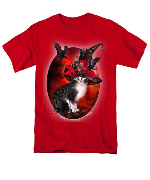 Cat In Fancy Witch Hat 1 Men's T-Shirt  (Regular Fit) by Carol Cavalaris