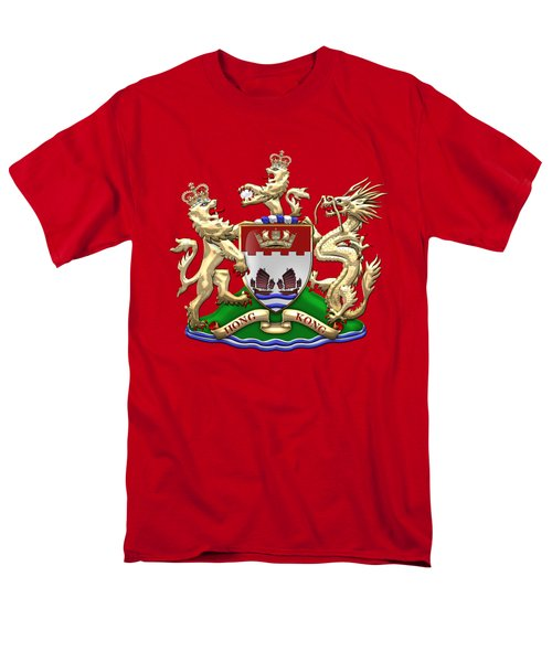 Hong Kong - 1959-1997 Coat Of Arms Over Red Leather  Men's T-Shirt  (Regular Fit) by Serge Averbukh