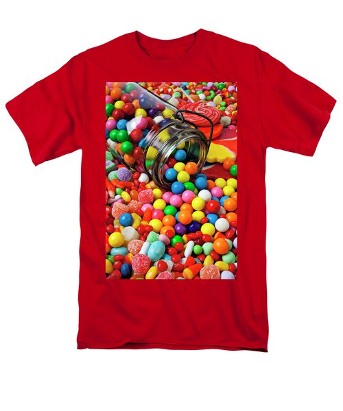 Jar spilling bubblegum with candy T-Shirt by Garry Gay