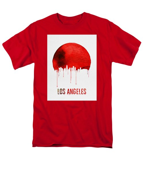Los Angeles Skyline Red Men's T-Shirt  (Regular Fit) by Naxart Studio