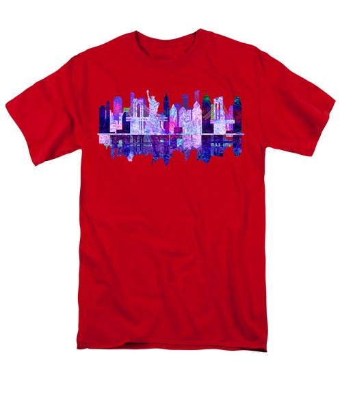 New York Skyline Red Men's T-Shirt  (Regular Fit) by John Groves