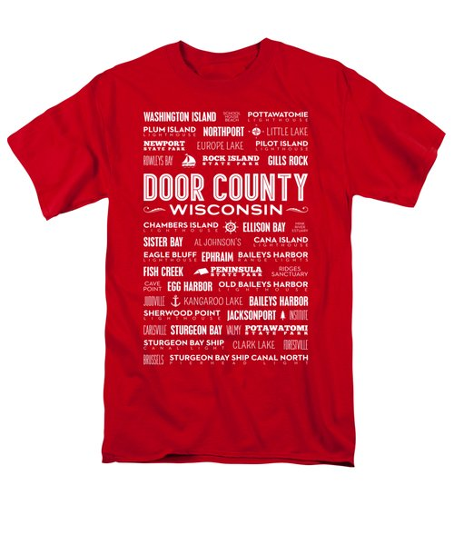 Places Of Door County On Red Men's T-Shirt  (Regular Fit) by Christopher Arndt