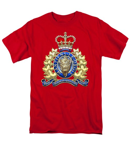 Royal Canadian Mounted Police - Rcmp Badge On Red Leather Men's T-Shirt  (Regular Fit) by Serge Averbukh